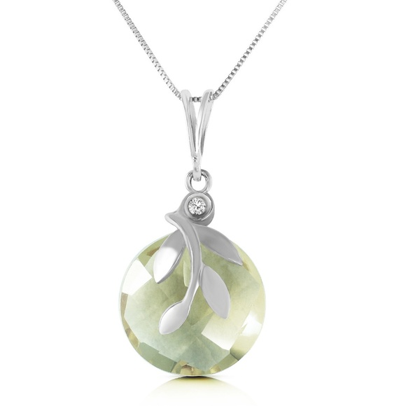 Galaxy Gold Products Jewelry - NECKLACE W/ NATURAL GREEN AMETHYST & DIAMONS
